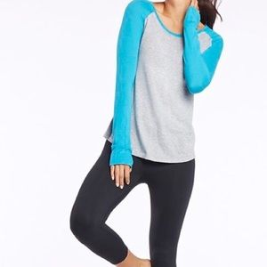 Fabletics Teal and Gray Baseball Tee Thumb Holes M
